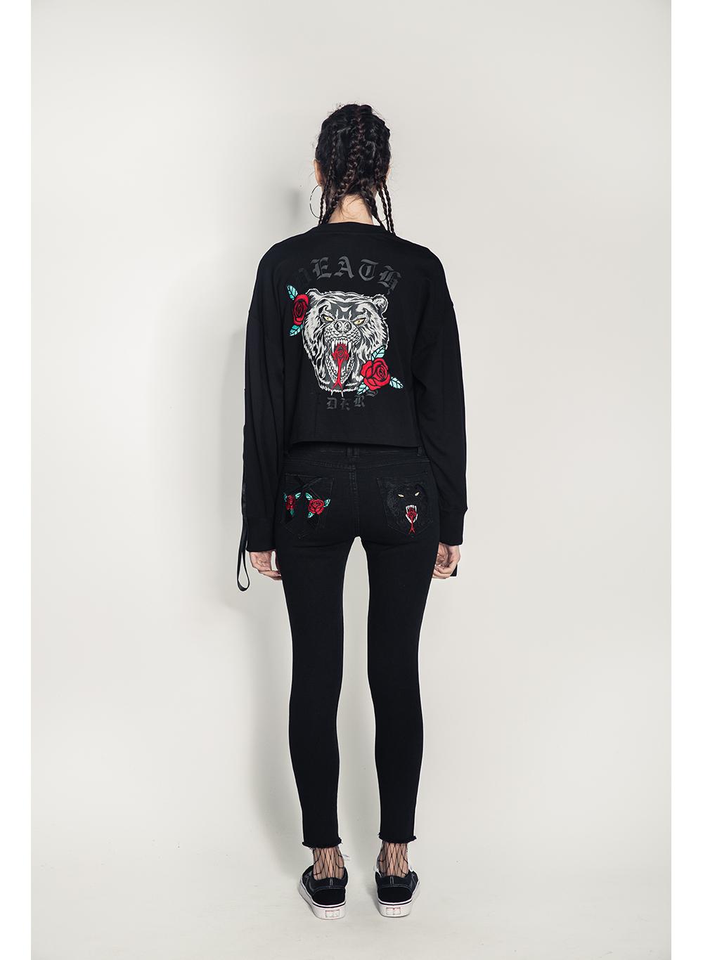 Floral Death Adder Women's Pullover Crop Crewneck