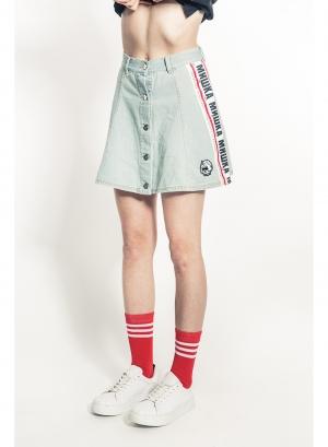 Cyrillic Stripe Denim Skirt