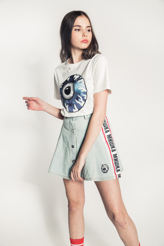White Stripe Cyrillic Skirt