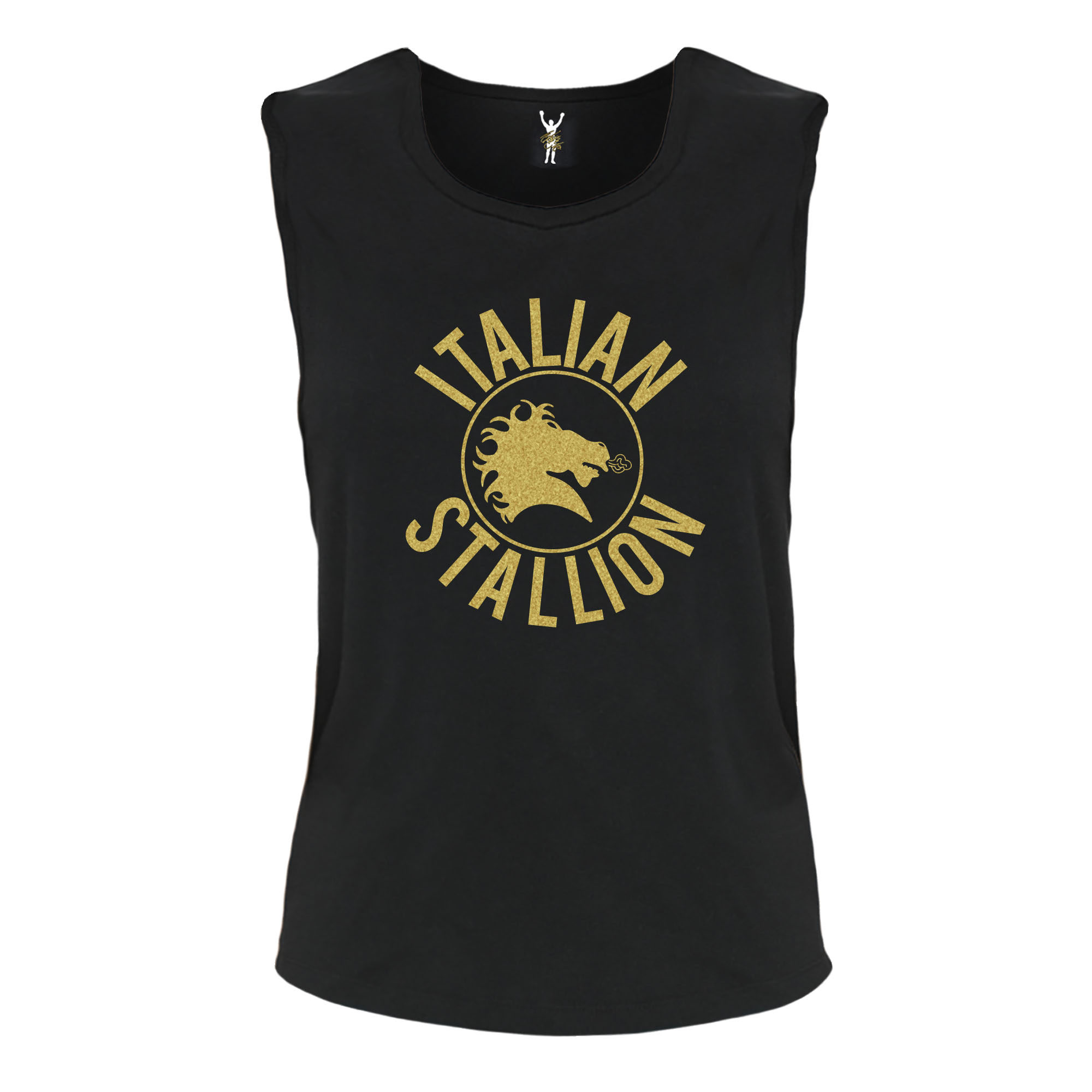 Italian Stallion Metallic Gold Muscle Flowy Tank