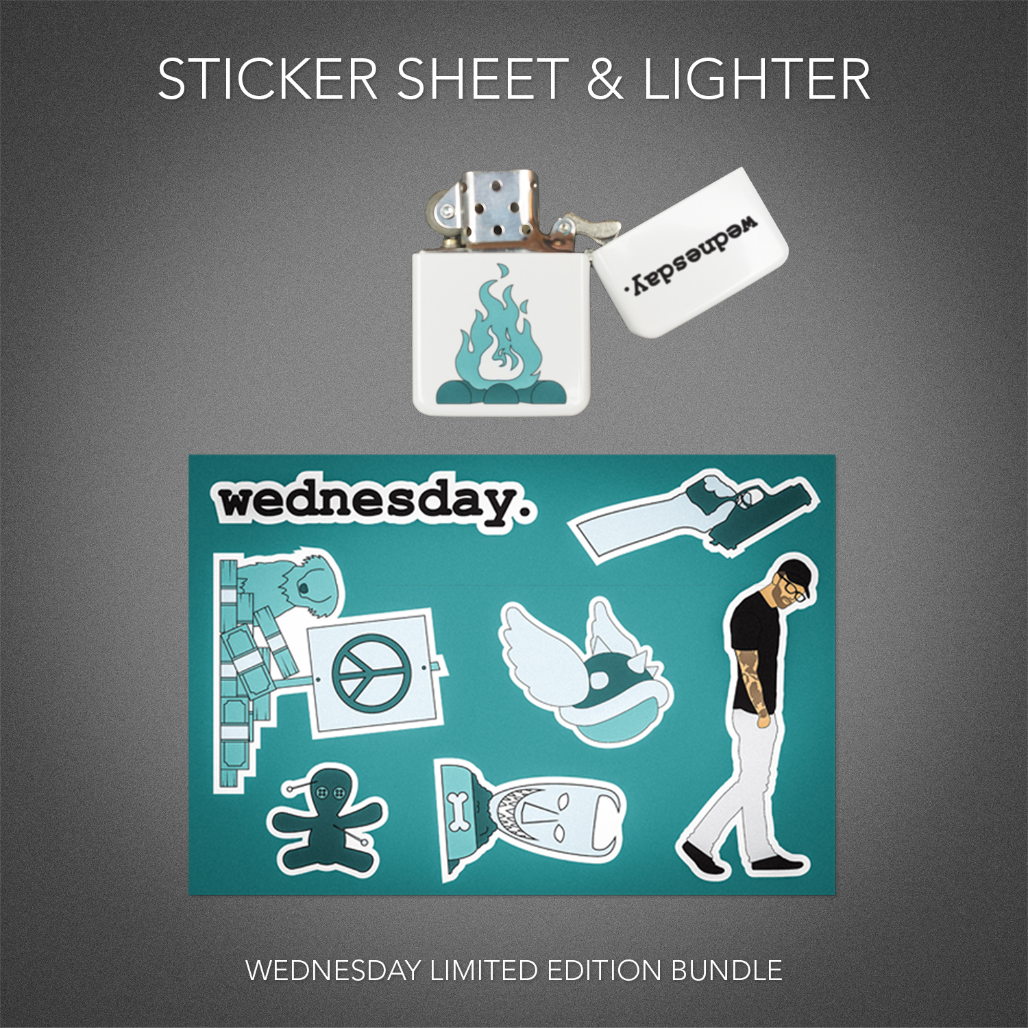 Wednesday Lighter & Sticker Sheet