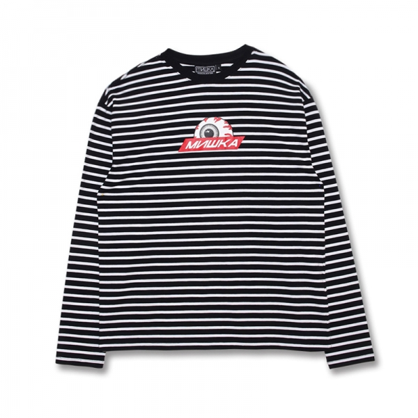 Striped Long Sleeve Keep Watch Logo Tee