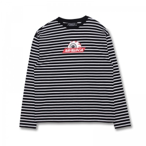 Striped Long Sleeve Keep Watch Logo Tee