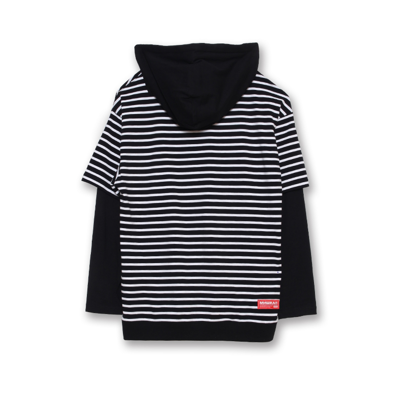 Keep Watch Striped Pull Over Long Sleeve Hoodie