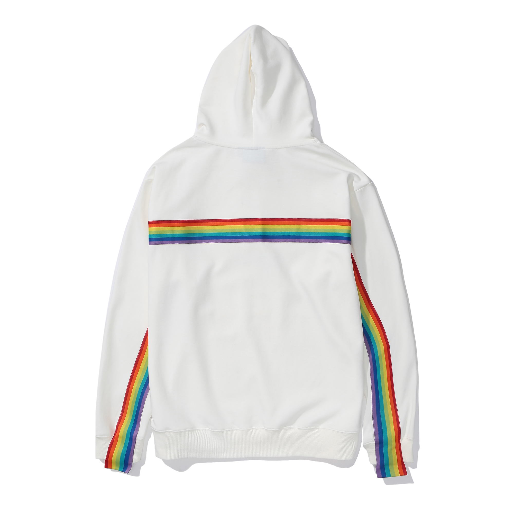 White Rainbow Striped Pullover Hoodie