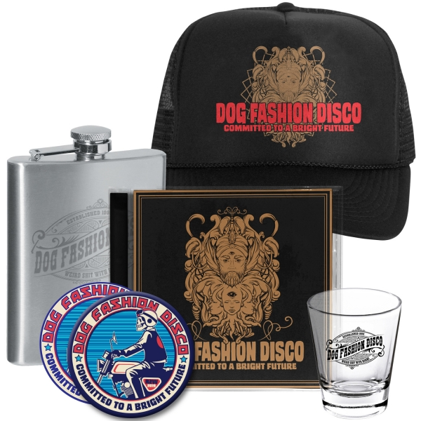 CD/Sticker/Patch/Shotglass/ Flask/Trucker Hat Bundle
