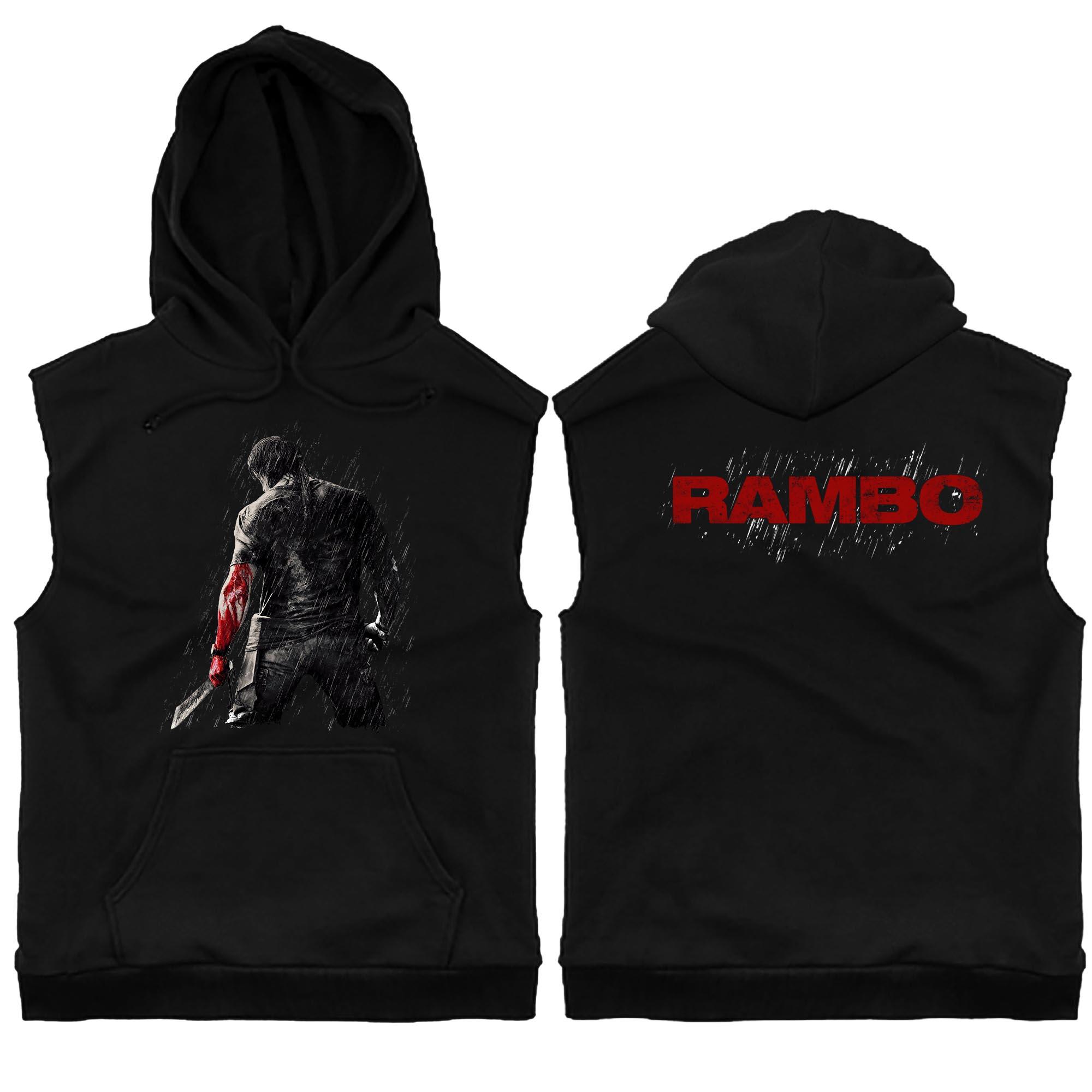 Rambo Machete Rain Sleeveless Hoodie