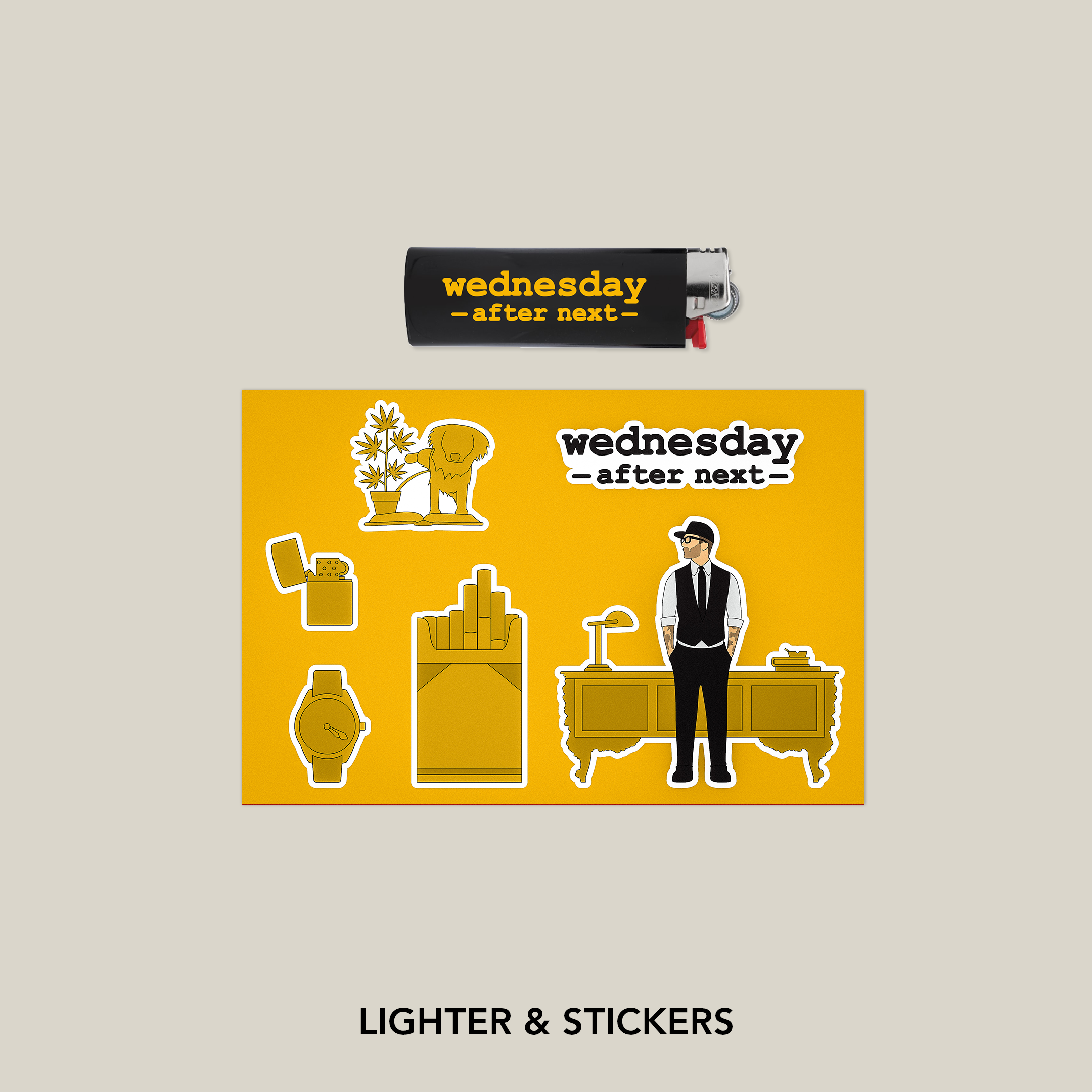 Wednesday After Next Lighter and Sticker Sheet