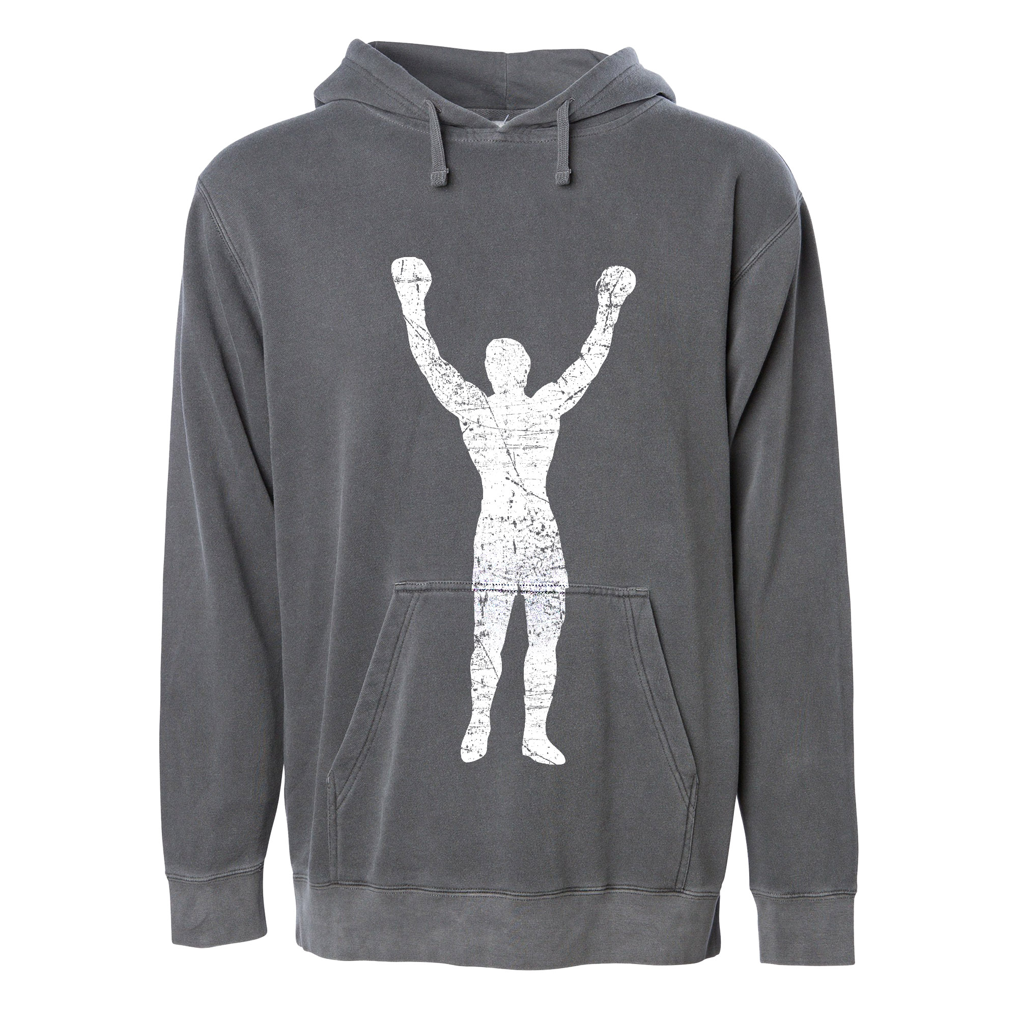 Rocky Statue Gray Grunge Pullover Hoodie