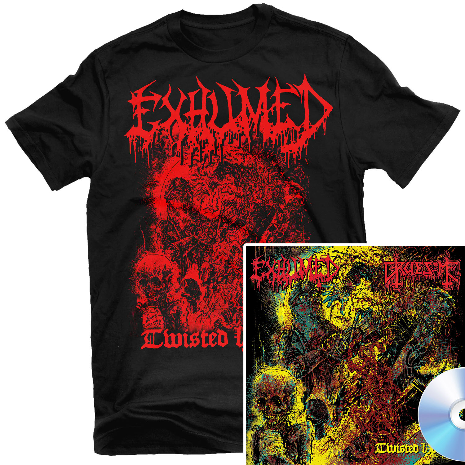 Exhumed - Twisted Horror T Shirt + CD Bundle