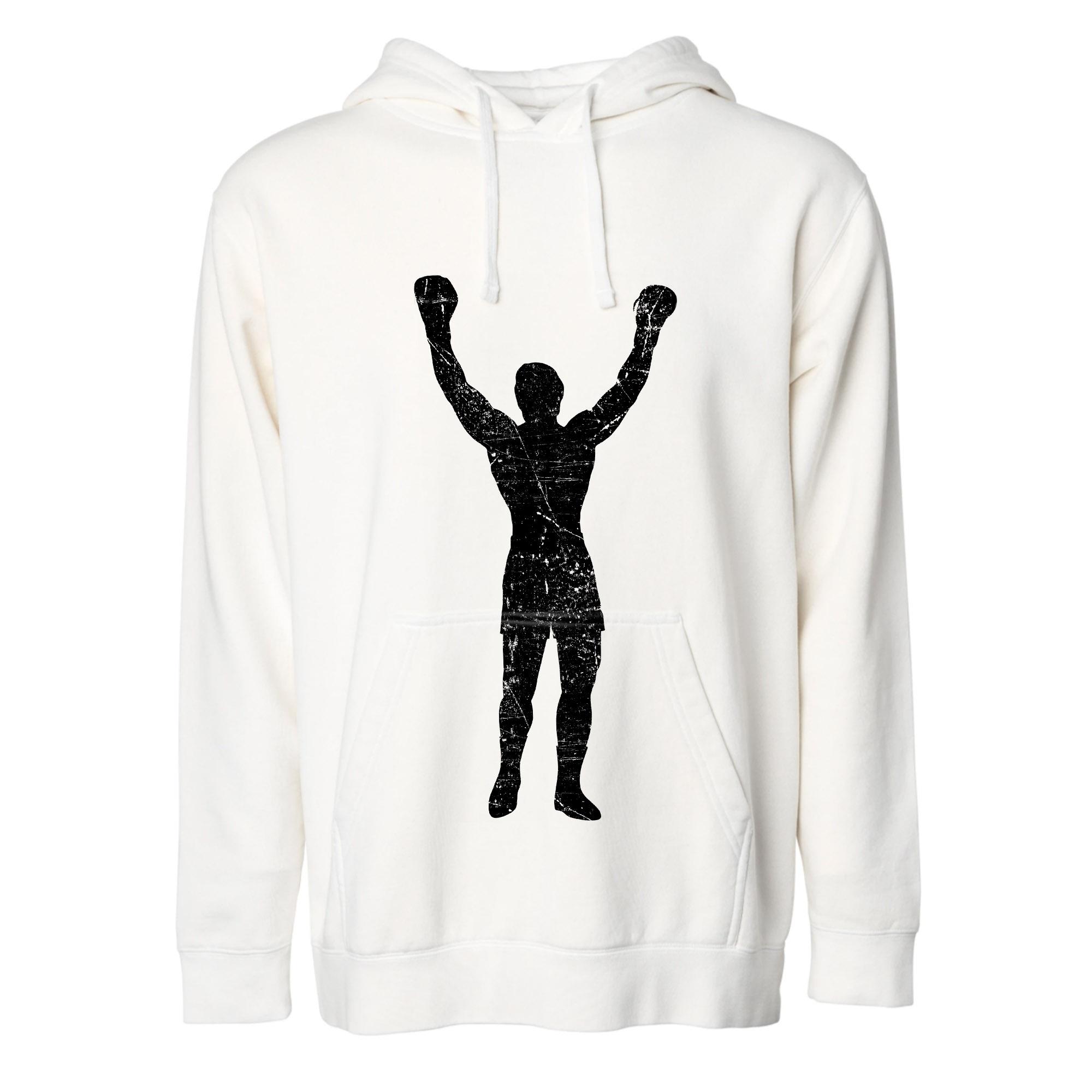 Rocky Statue White Grunge Pullover Hoodie